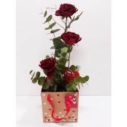 San Valentin caja 3 rosas